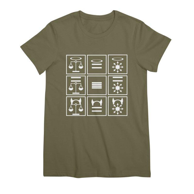 Alignment Chart: White Women's Premium T-Shirt by JordanaHeney Illustration