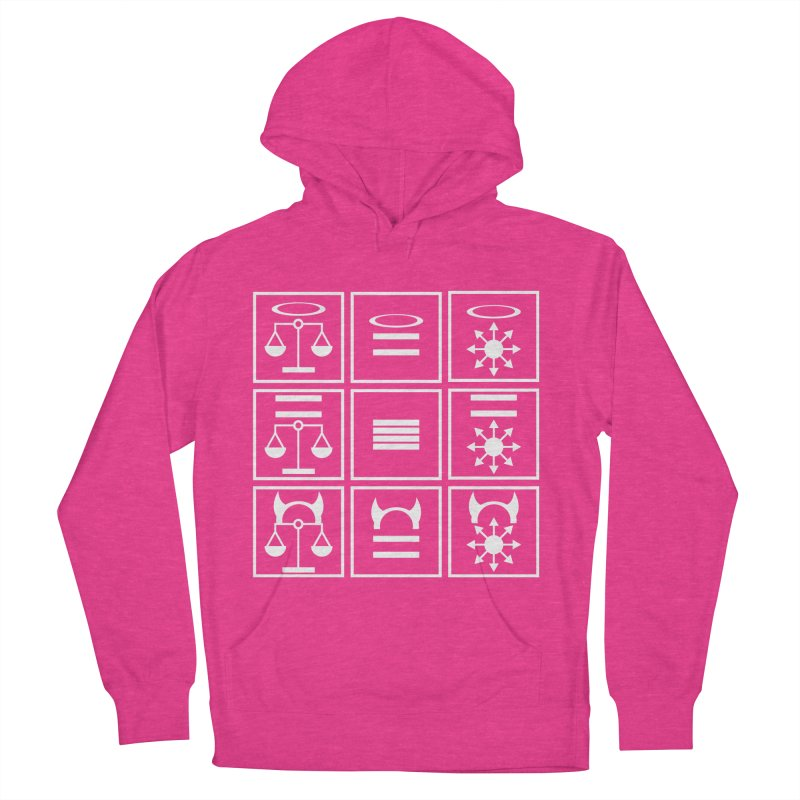 Alignment Chart: White Men's French Terry Pullover Hoody by JordanaHeney Illustration
