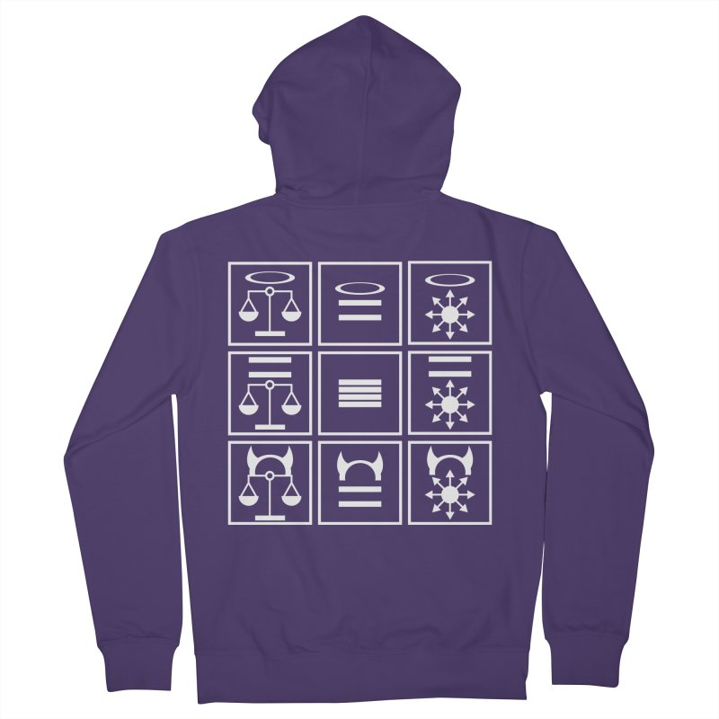 Alignment Chart: White Women's French Terry Zip-Up Hoody by JordanaHeney Illustration
