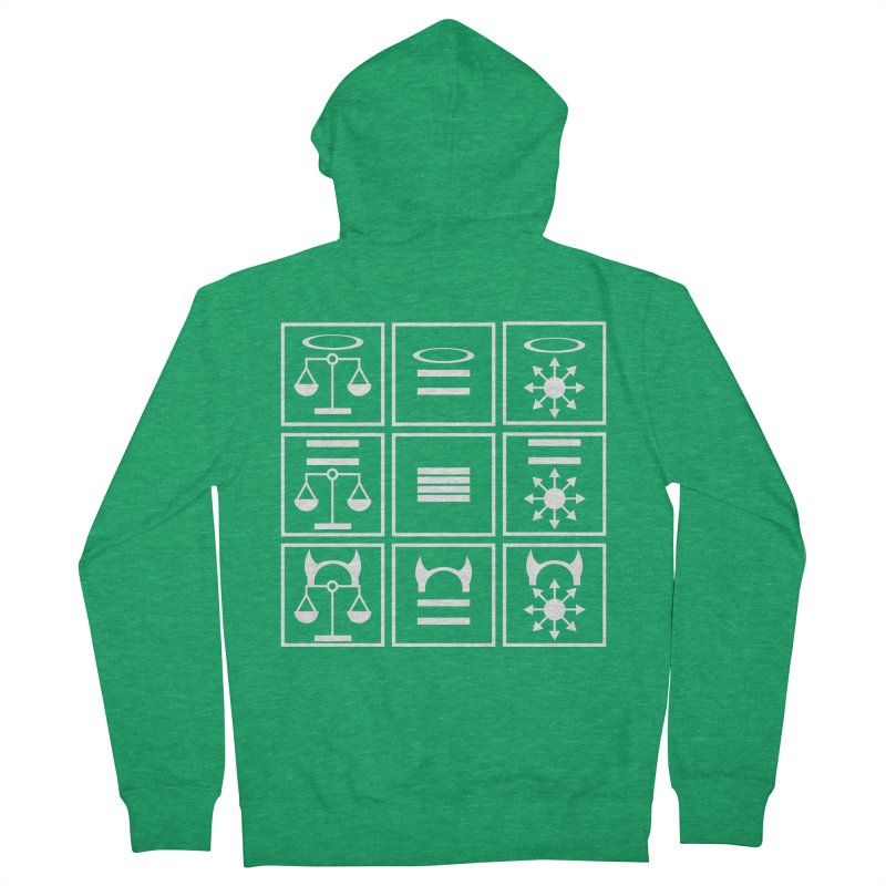 Alignment Chart: White Men's Zip-Up Hoody by JordanaHeney Illustration