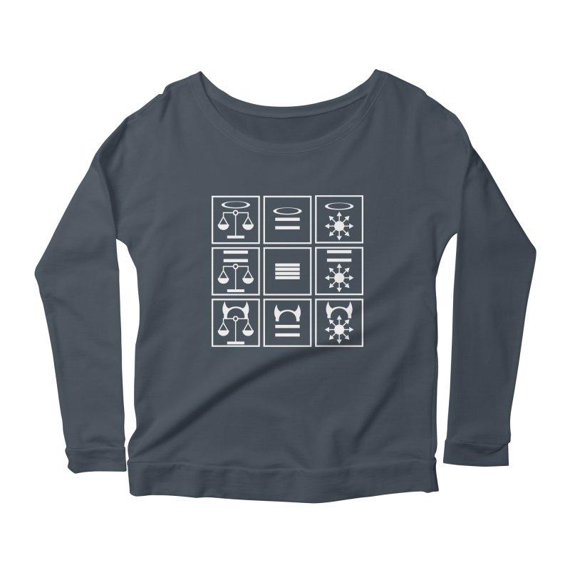 Alignment Chart: White Women's Scoop Neck Longsleeve T-Shirt by JordanaHeney Illustration