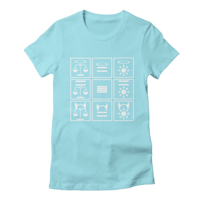 Alignment Chart: White Women's Fitted T-Shirt by JordanaHeney Illustration