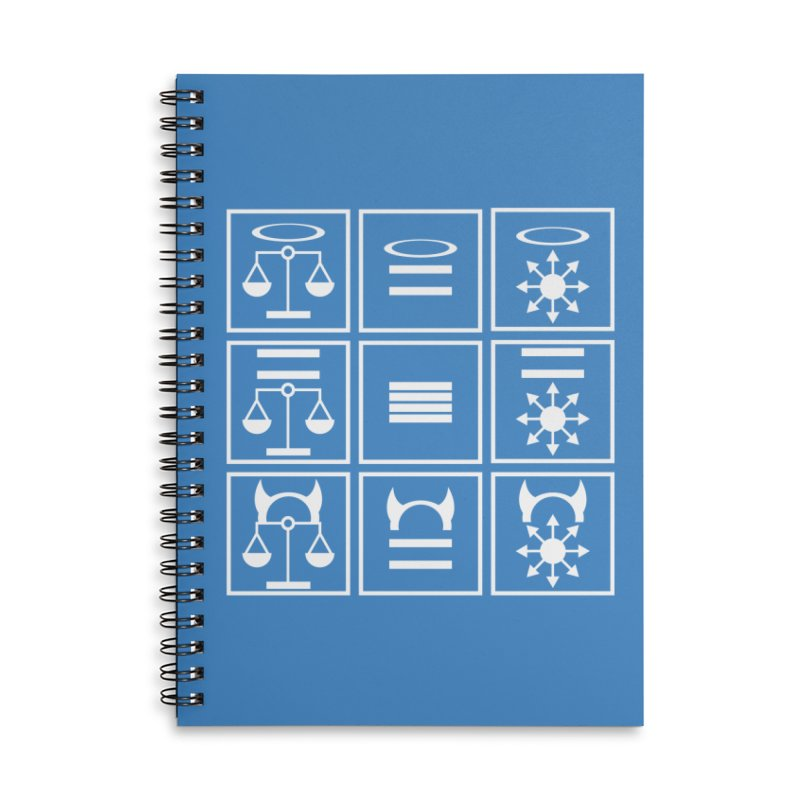Alignment Chart: White Accessories Lined Spiral Notebook by JordanaHeney Illustration