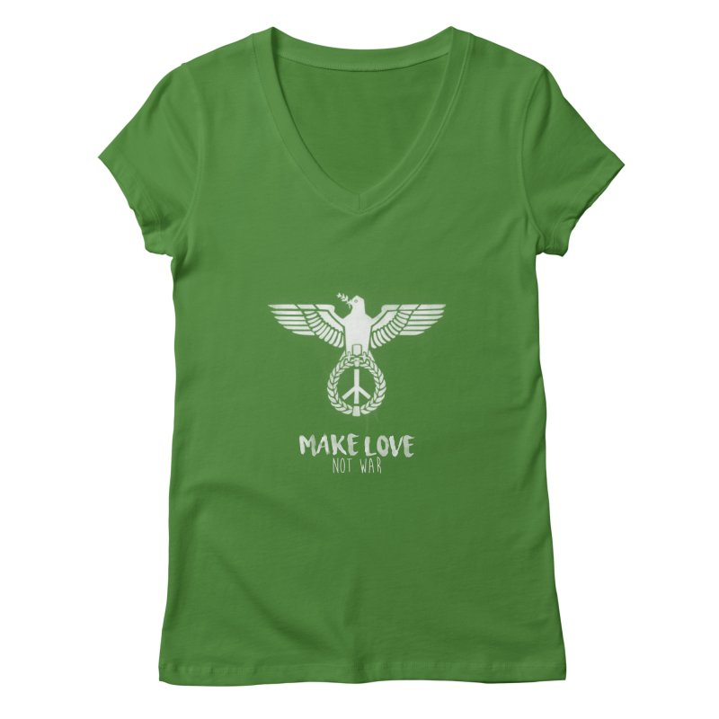 Make LOVE not war Women's V-Neck by Jordy The Gnome's Artist Shop