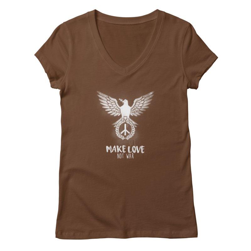 Make LOVE not war Women's V-Neck by Jordy The Gnome's Artist Shop