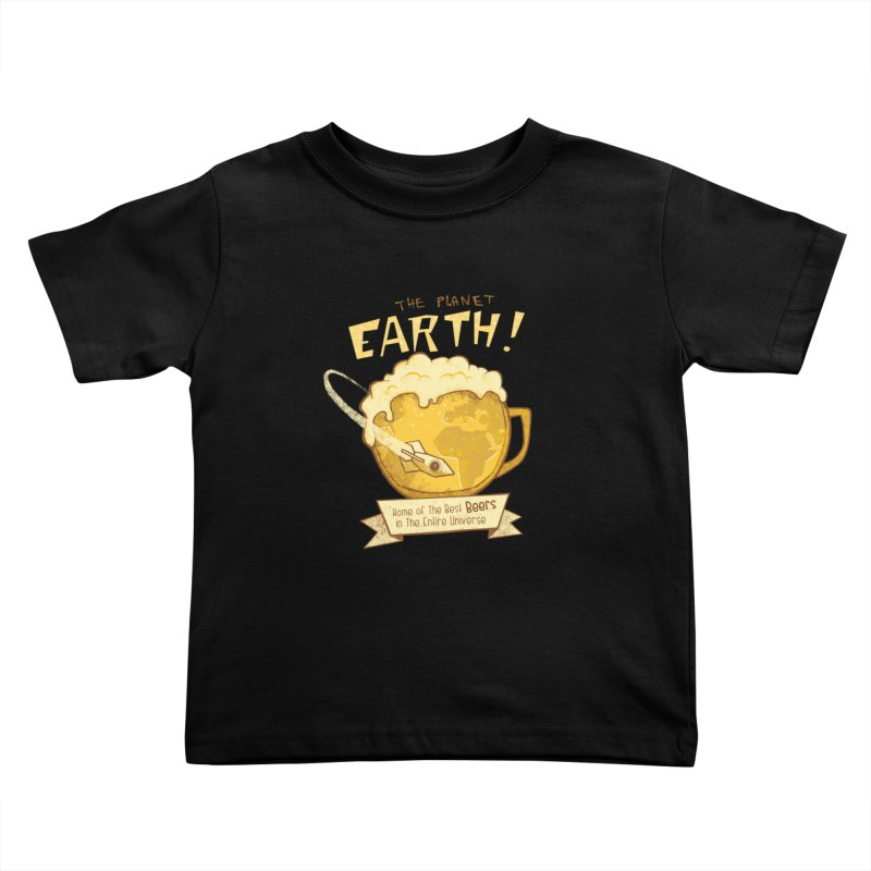 Space Beer Kids Toddler T-Shirt by Jordy The Gnome's Artist Shop