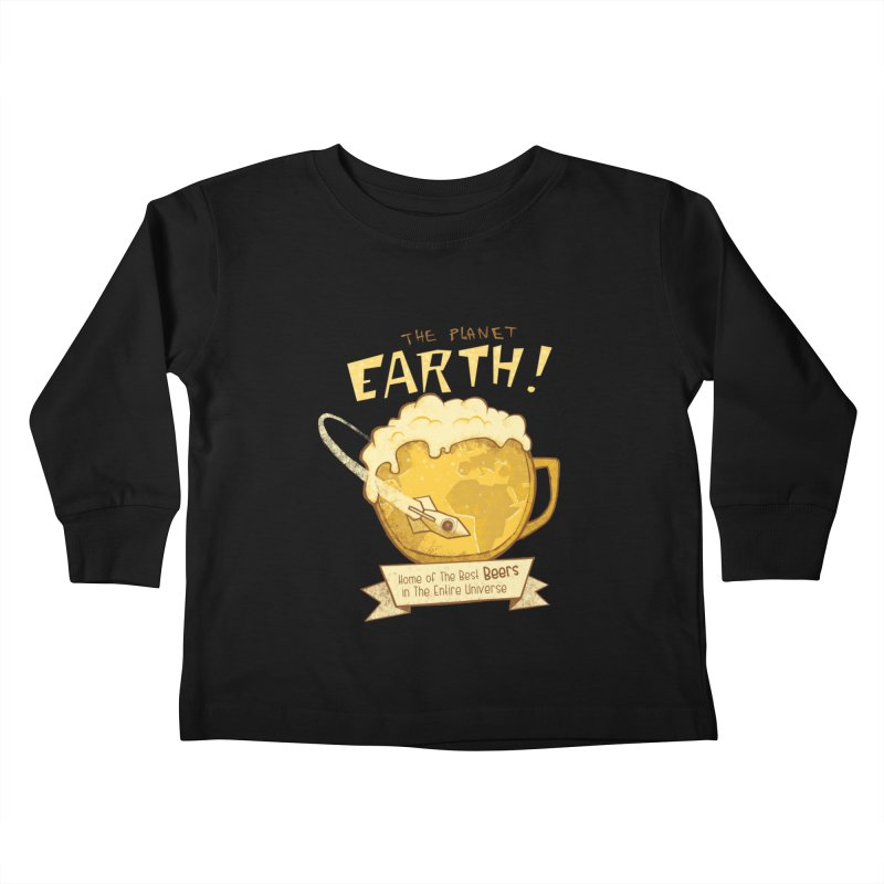 Space Beer Kids Toddler Longsleeve T-Shirt by Jordy The Gnome's Artist Shop