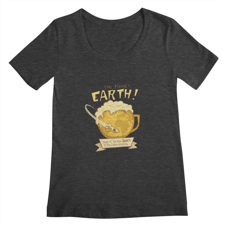 Space Beer Women's Scoopneck by Jordy The Gnome's Artist Shop