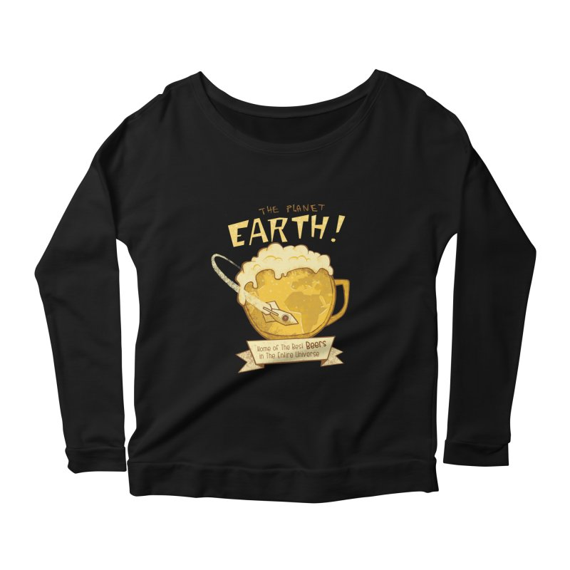 Space Beer Women's Longsleeve Scoopneck  by Jordy The Gnome's Artist Shop