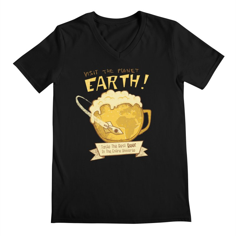 Space Beer Men's V-Neck by Jordy The Gnome's Artist Shop