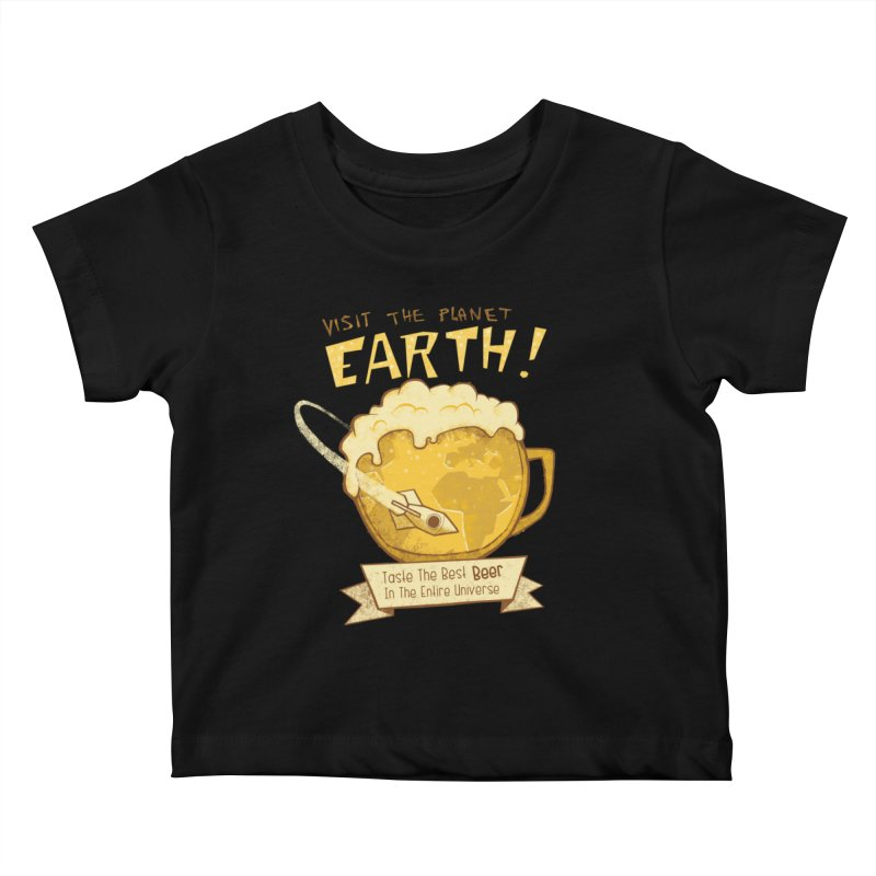Space Beer Kids Baby T-Shirt by Jordy The Gnome's Artist Shop