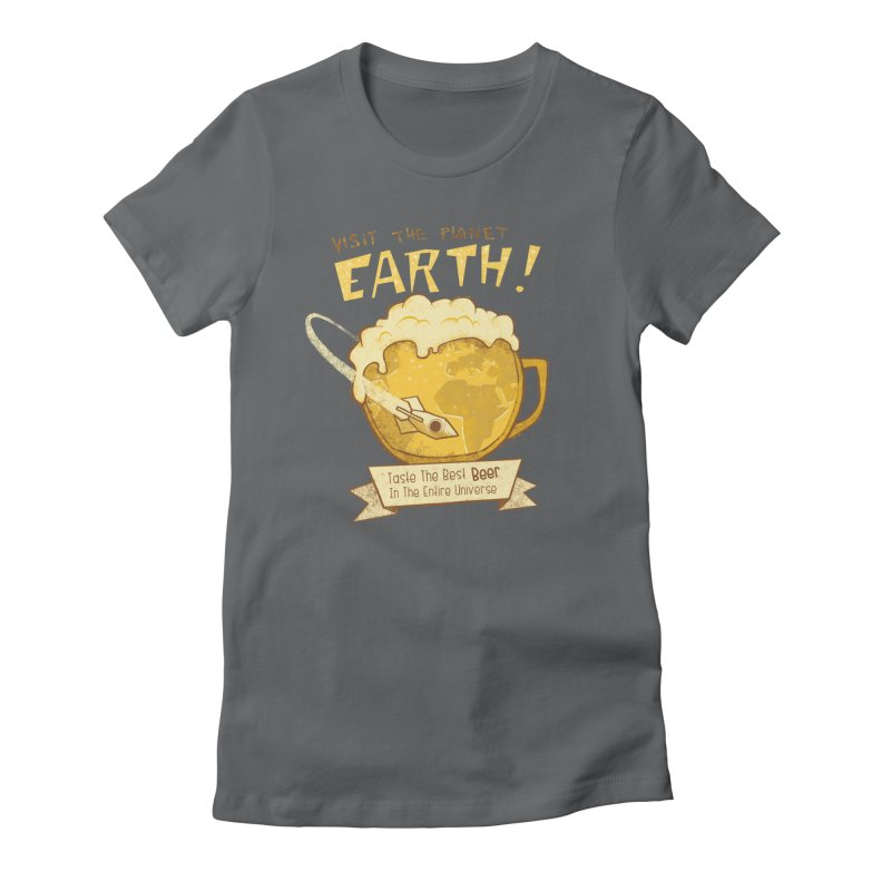 Space Beer Women's Fitted T-Shirt by Jordy The Gnome's Artist Shop