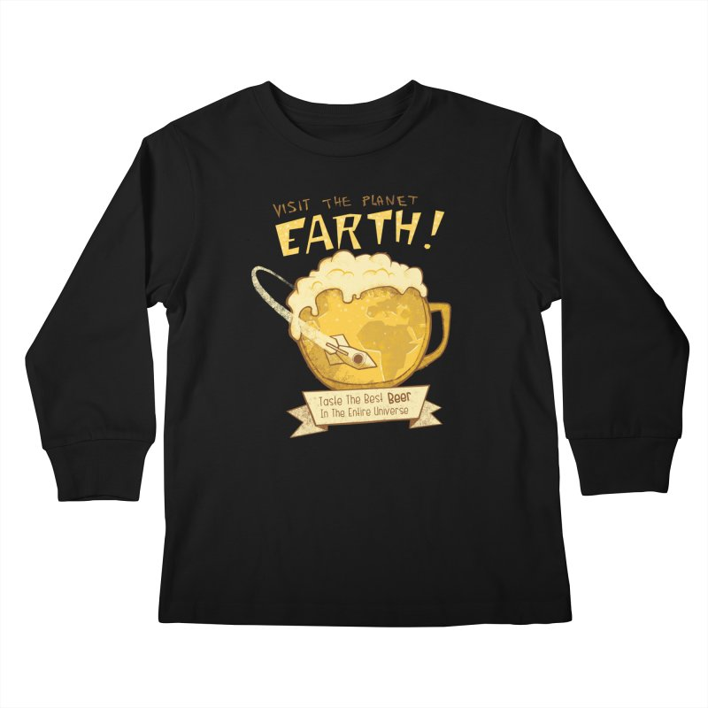 Space Beer Kids Longsleeve T-Shirt by Jordy The Gnome's Artist Shop