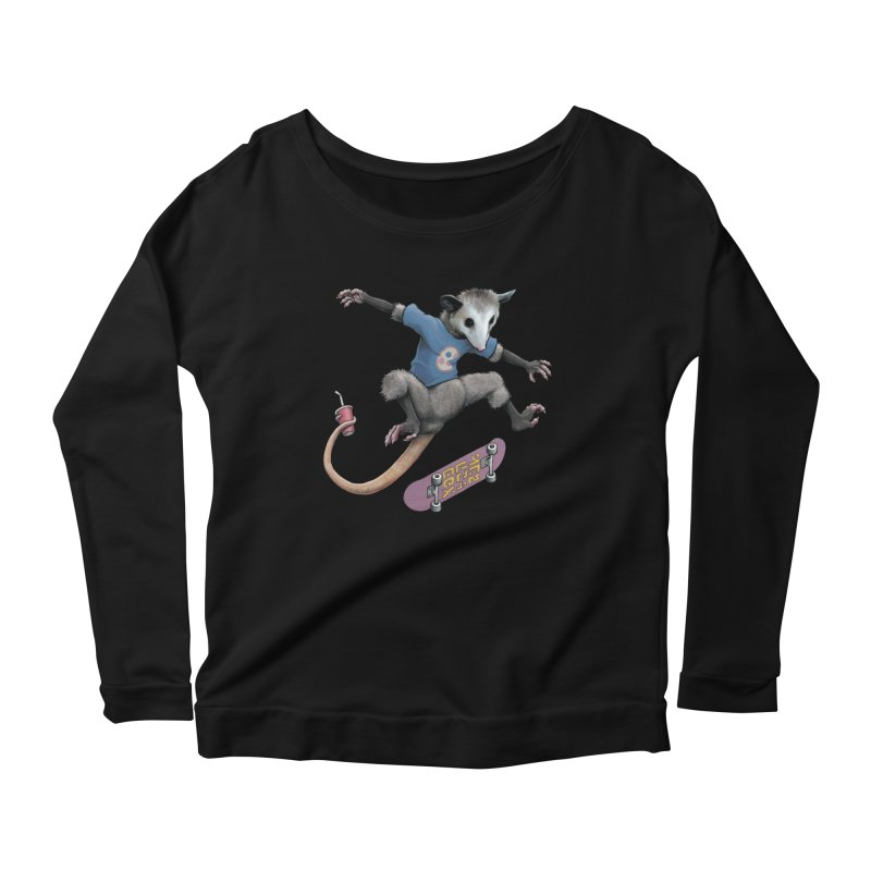 Awesome Possum Women's Scoop Neck Longsleeve T-Shirt by joshbillings's Artist Shop