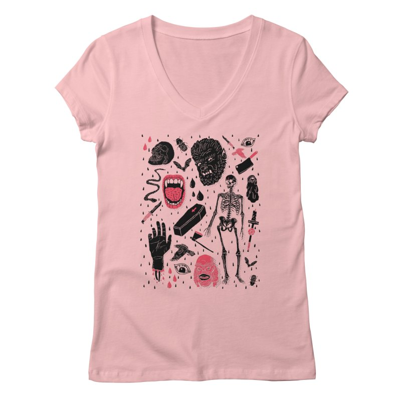 Whole Lotta Horror in Women's Regular V-Neck Pink by Josh Ln Artist Shop