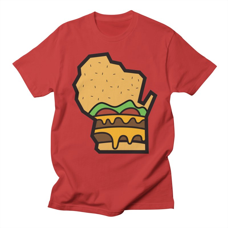 WI Cheddar in Men's T-Shirt Red by Barbell Buffet