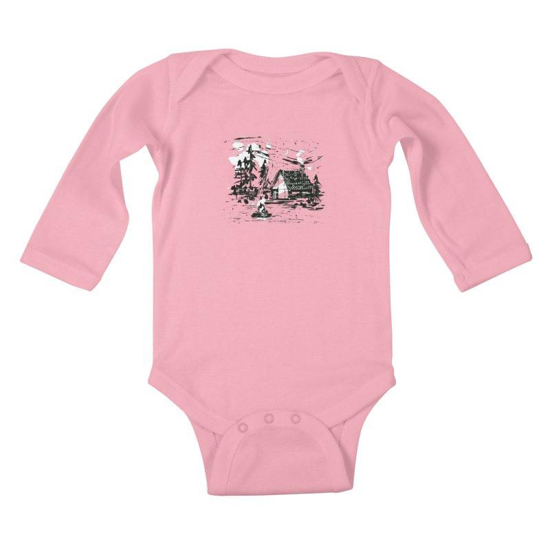Inky Cabin Kids Baby Longsleeve Bodysuit by Joshua Gille's Artist Shop