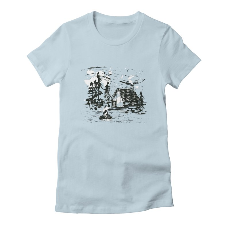 Inky Cabin Women's Fitted T-Shirt by Joshua Gille's Artist Shop