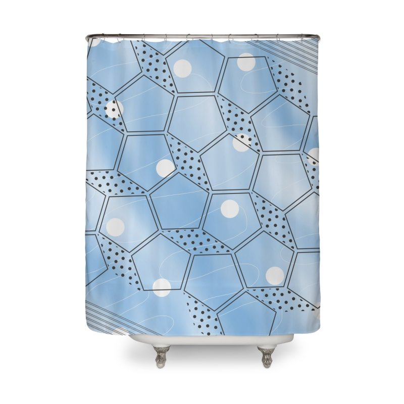 Shapes // Blue Home Shower Curtain by josmithcreative's Artist Shop