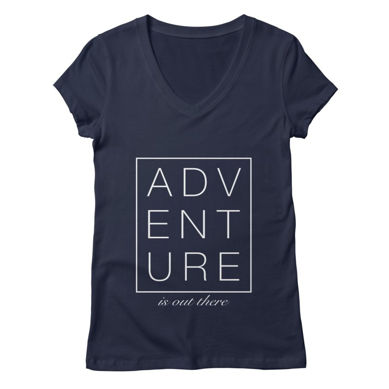 ADVENTURE // White Women's V-Neck by josmithcreative's Artist Shop