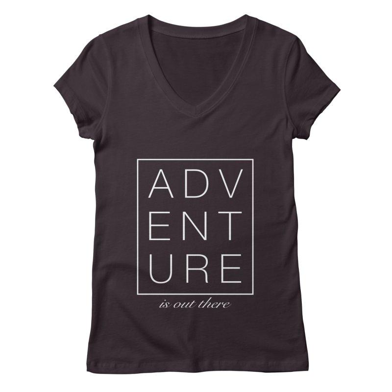 ADVENTURE // White Women's V-Neck by josmithcreative's Artist Shop