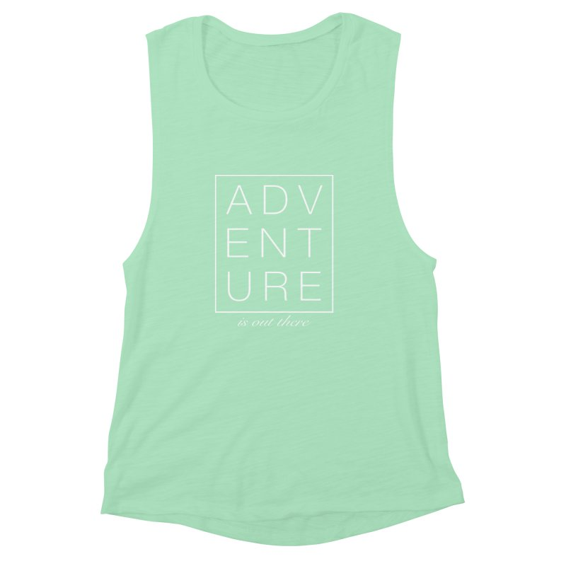 ADVENTURE // White Women's Muscle Tank by josmithcreative's Artist Shop