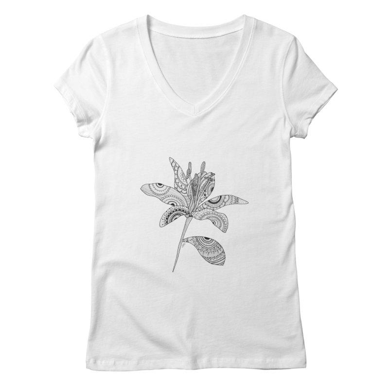 Paisley Flower // Lily Women's V-Neck by josmithcreative's Artist Shop