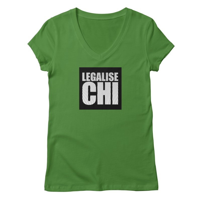 Legalise Chi Black Women's Regular V-Neck by Jost Sauer Chi Cycle Lifestyle