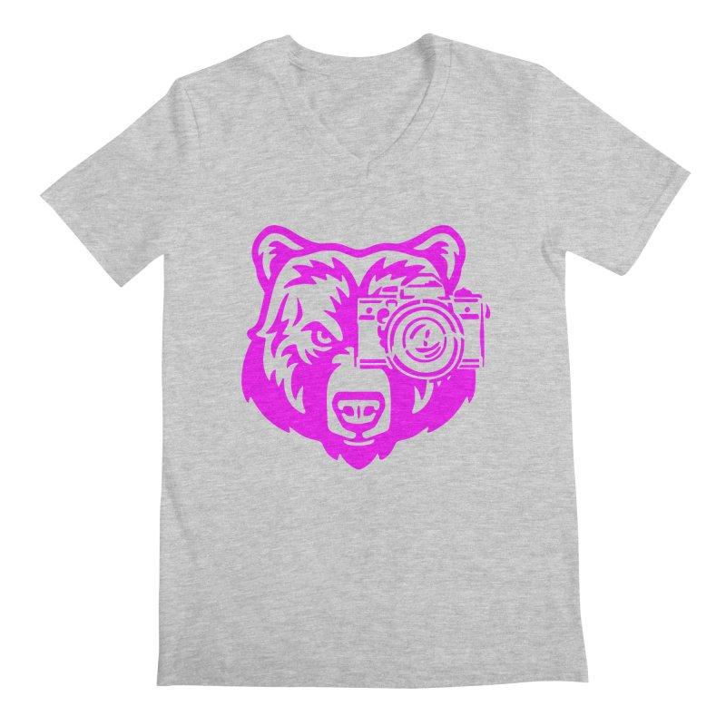 Pink Bear Big Men's Regular V-Neck by jpaullphoto's Artist Shop