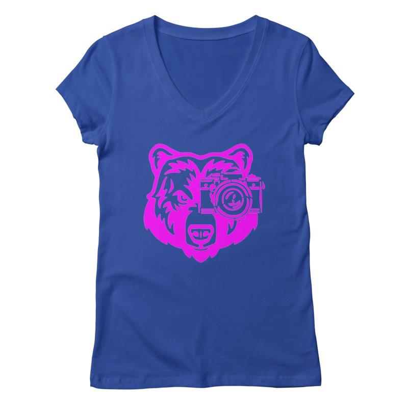 Pink Bear Big Women's Regular V-Neck by jpaullphoto's Artist Shop
