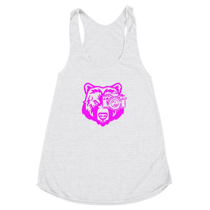 Pink Bear Big Women's Racerback Triblend Tank by jpaullphoto's Artist Shop