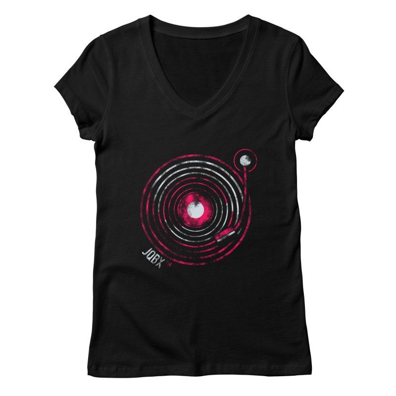 JQBX record logo Women's V-Neck by JQBX Store - Listen Together