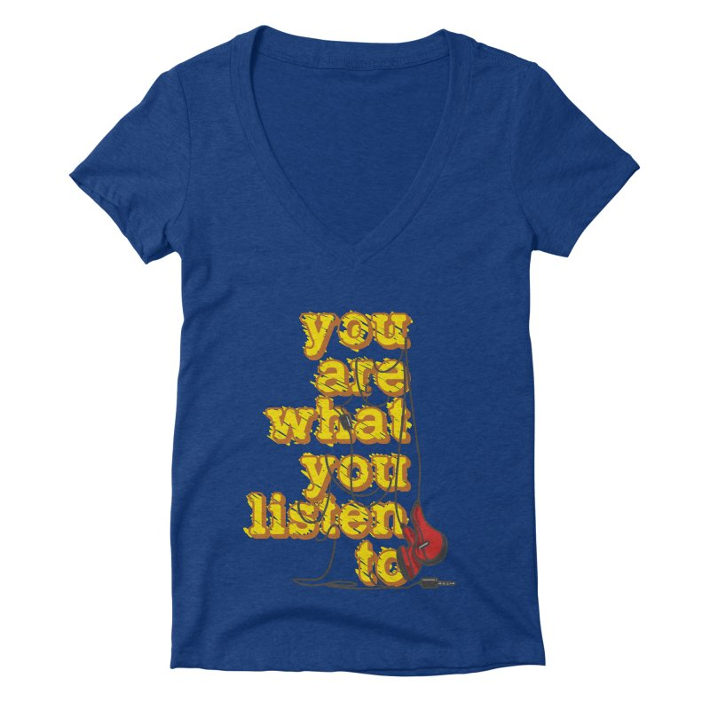 You are what you listen to Women's Deep V-Neck V-Neck by JQBX Store - Listen Together