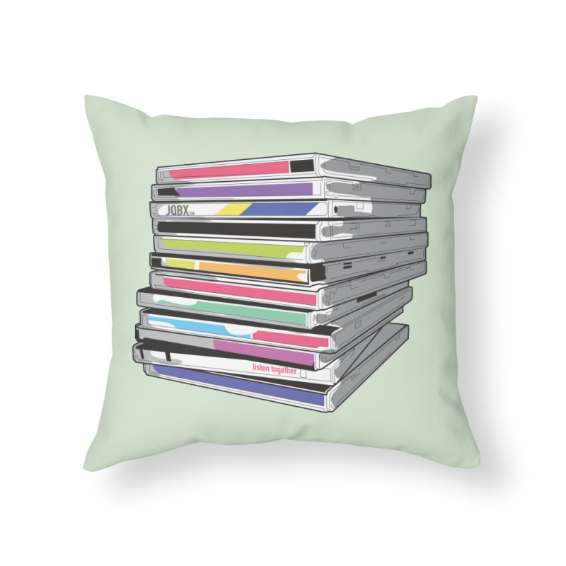 Cd Collection JQBX Home Throw Pillow by JQBX Store - Listen Together