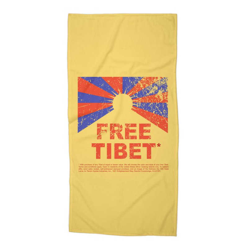 Free Tibet Accessories Beach Towel by JQBX Store - Listen Together