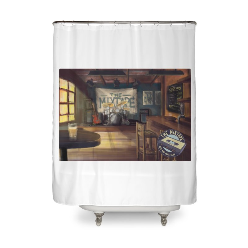 Mixtape Bar Poster Home Shower Curtain by JQBX Store - Listen Together