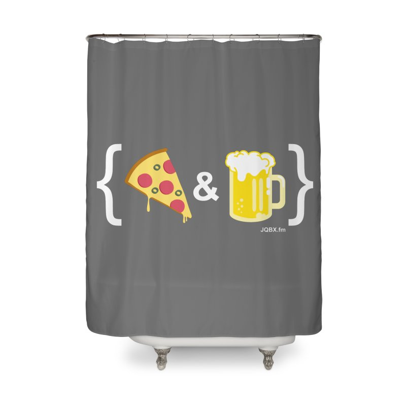 Pizza & Beer JQBX Home Shower Curtain by JQBX Store - Listen Together