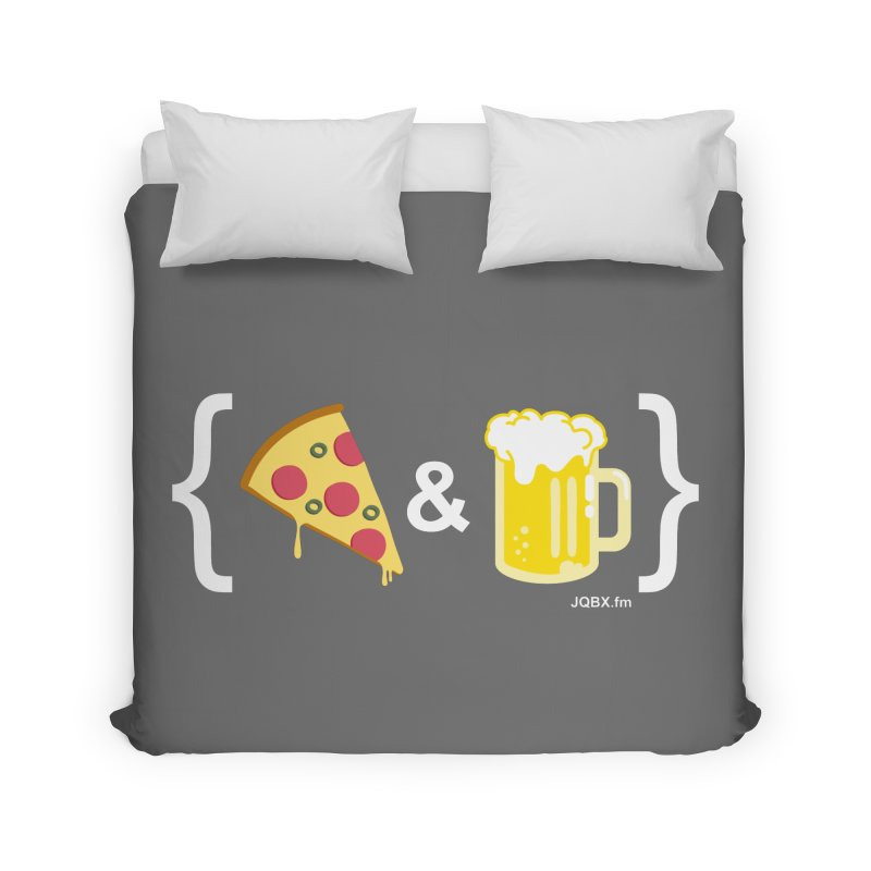 Pizza & Beer JQBX Home Duvet by JQBX Store - Listen Together