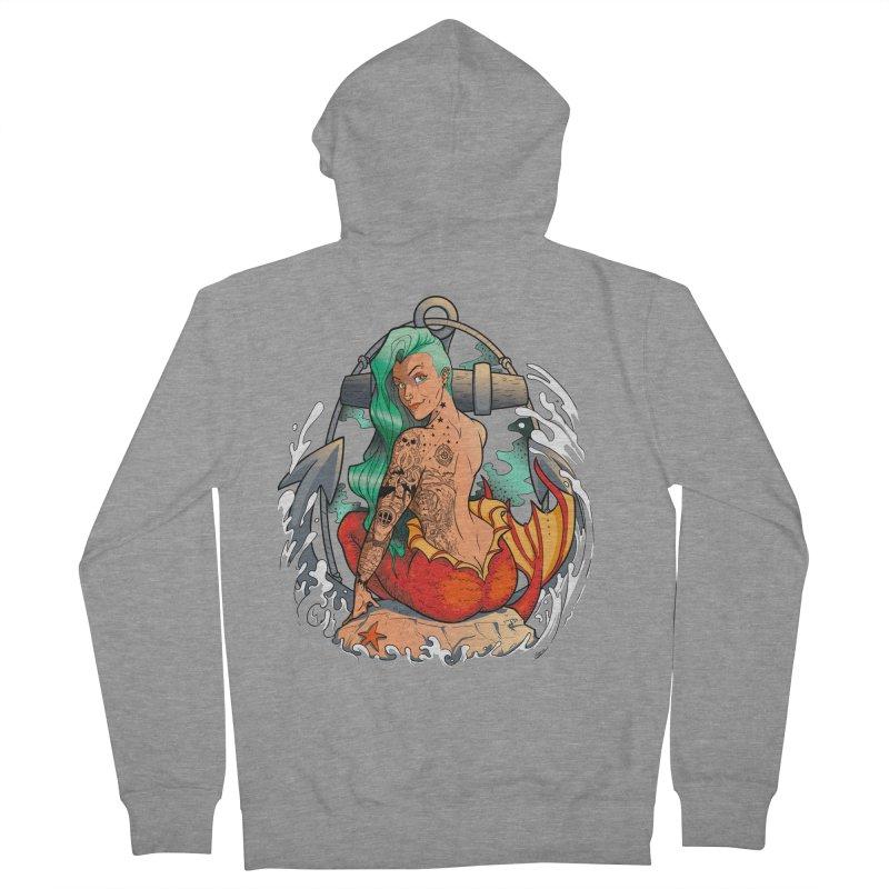 Mermaid Ink Men's French Terry Zip-Up Hoody by jrieman's Artist Shop