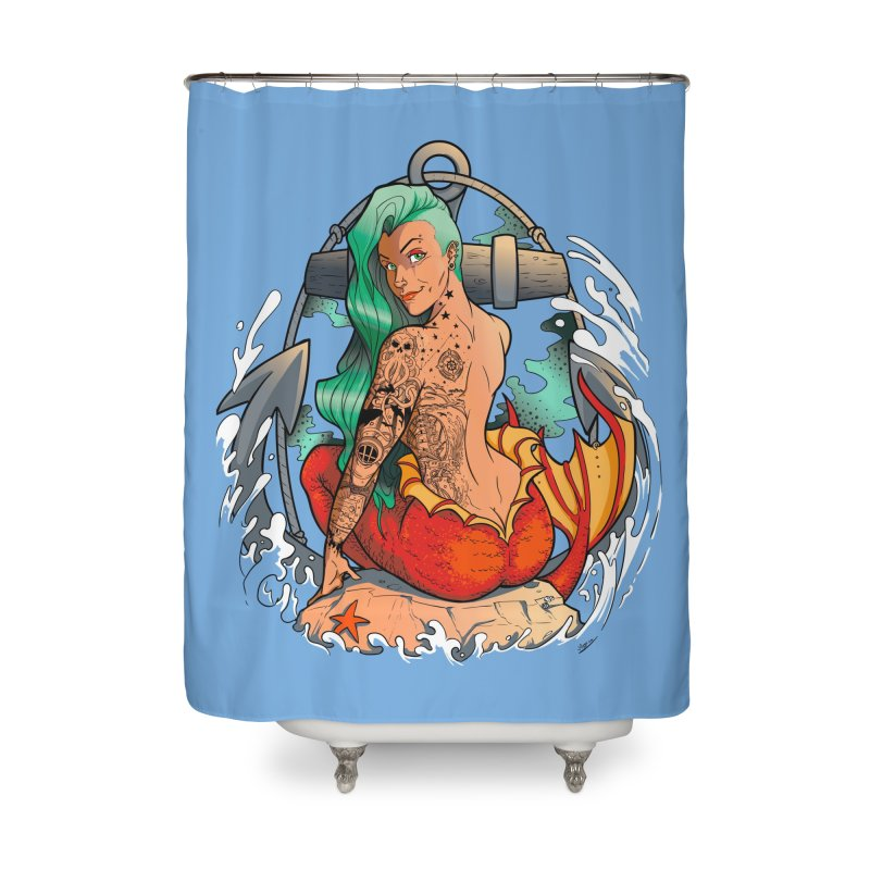 Mermaid Ink Home Shower Curtain by jrieman's Artist Shop