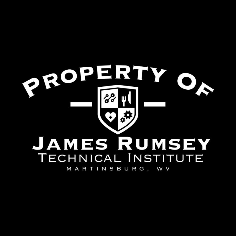 Property of James Rumsey - white print Men's T-Shirt by James Rumsey Technical Institute