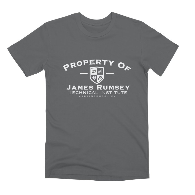 Property of James Rumsey - white print Men's Premium T-Shirt by James Rumsey Technical Institute