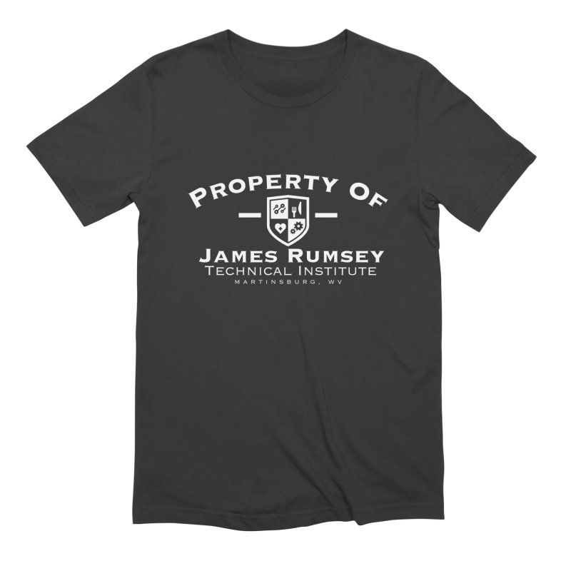 Property of James Rumsey - white print Men's Extra Soft T-Shirt by James Rumsey Technical Institute