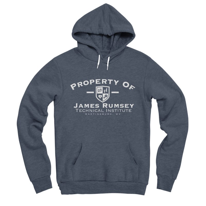 Property of James Rumsey - white print Men's Sponge Fleece Pullover Hoody by James Rumsey Technical Institute