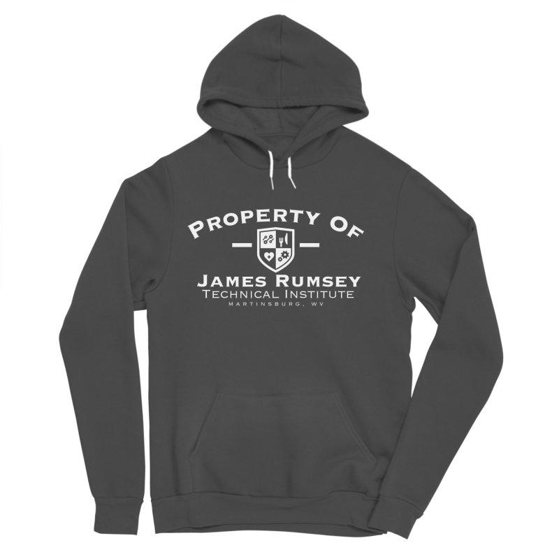 Property of James Rumsey - white print Men's Sponge Fleece Pullover Hoody by James Rumsey Technical Institute