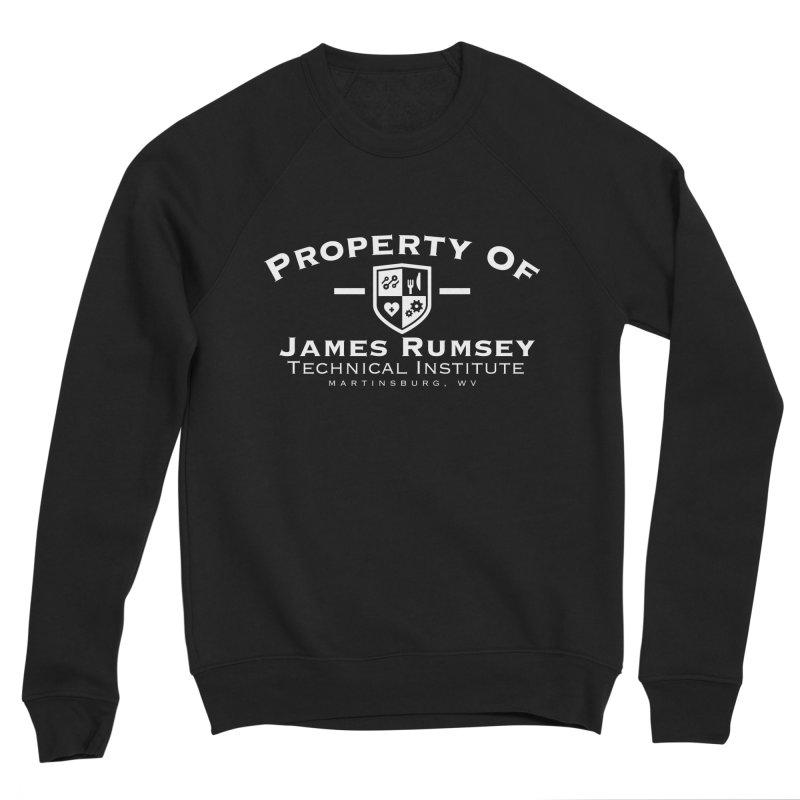 Property of James Rumsey - white print Men's Sponge Fleece Sweatshirt by James Rumsey Technical Institute