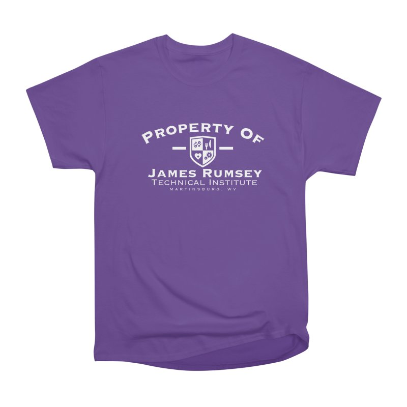 Property of James Rumsey - white print Men's Heavyweight T-Shirt by James Rumsey Technical Institute