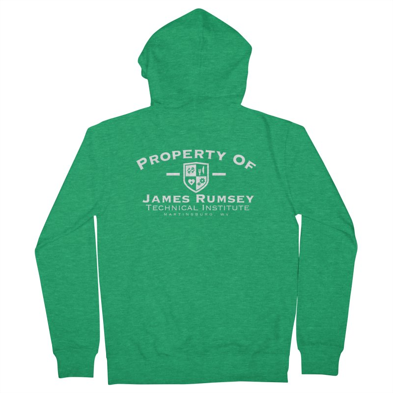 Property of James Rumsey - white print Men's French Terry Zip-Up Hoody by James Rumsey Technical Institute