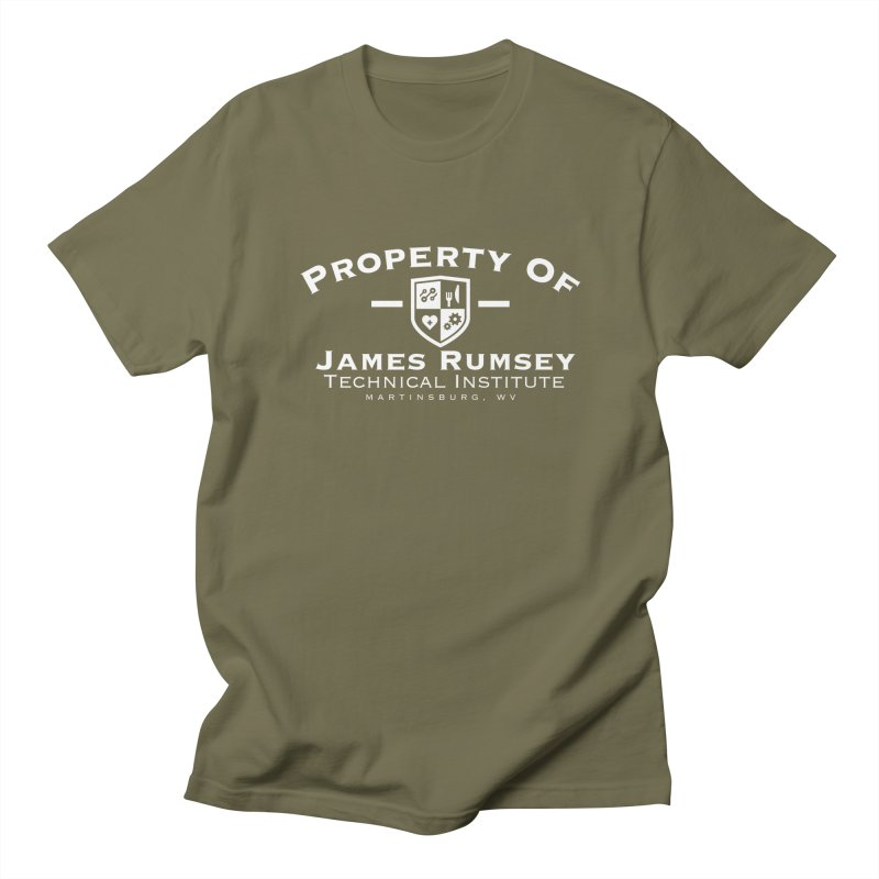 Property of James Rumsey - white print Men's Regular T-Shirt by James Rumsey Technical Institute