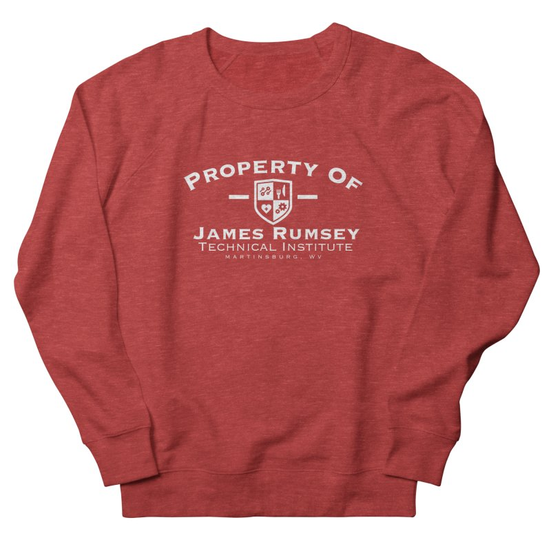 Property of James Rumsey - white print Men's French Terry Sweatshirt by James Rumsey Technical Institute
